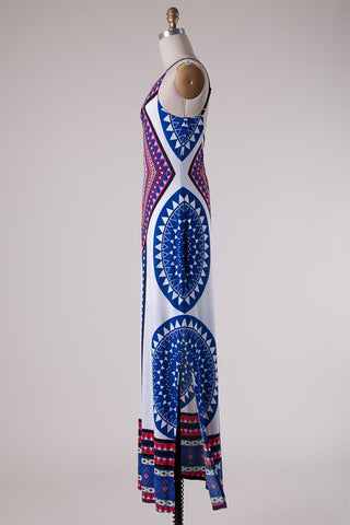 Summer Maxi Dress  - White and Royal - Blue Chic Boutique  - 5