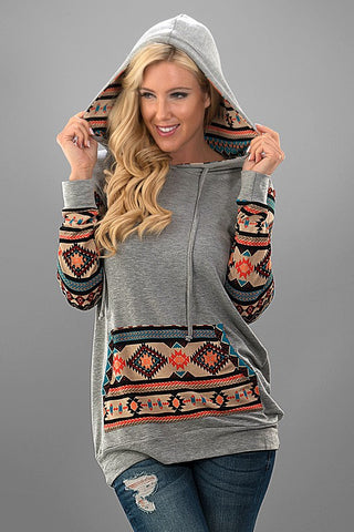 Absrtact Print Hoodie - Grey - Blue Chic Boutique  - 1