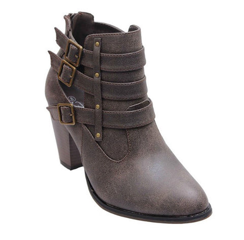 Buckle Ankle Boots - Brown - Blue Chic Boutique  - 2