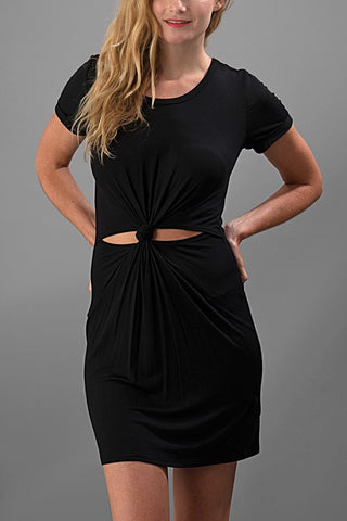 A Little Bit Knotty Dress - Black - Blue Chic Boutique  - 2
