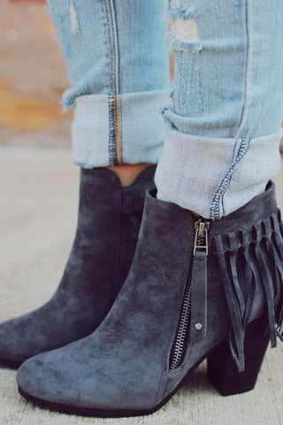 Fringe Booties - Grey - Blue Chic Boutique  - 1