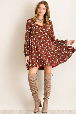 Fall Boho Dress - Burgundy - Blue Chic Boutique  - 1