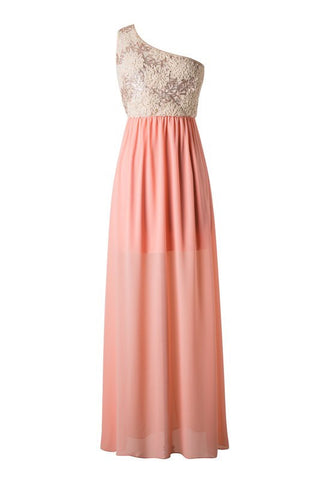 Subtle Sparkle One Shoulder Maxi Dress - Peach - Blue Chic Boutique  - 1