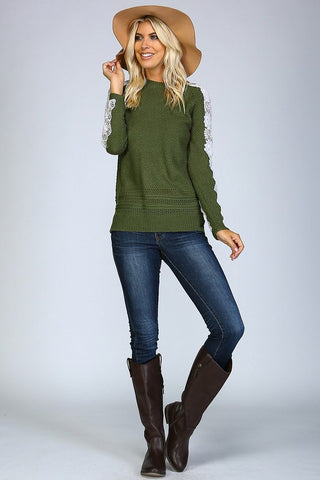 Fall Favorite Sweater - Olive - Blue Chic Boutique  - 2