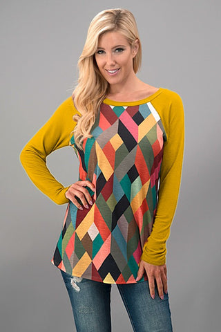 Geometric Fall Top - Mustard - Blue Chic Boutique  - 1