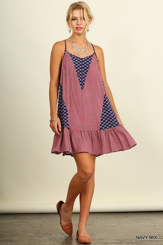 Casual Sundress - Navy Mix - Blue Chic Boutique  - 1