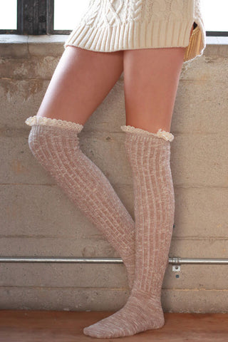Boot Socks - Beige - Blue Chic Boutique  - 1