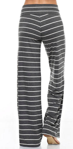 Casual Striped Pants - Charcoal - Blue Chic Boutique  - 4