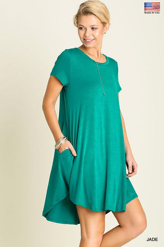 Solid Trapeze Dress  - Jade - Blue Chic Boutique  - 2