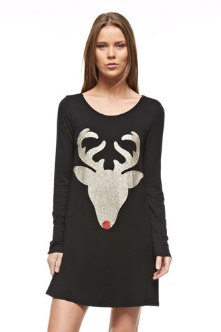 Glitter Reindeer Tunic - Black - Blue Chic Boutique  - 3