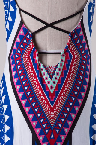 Summer Maxi Dress  - White and Royal - Blue Chic Boutique  - 4
