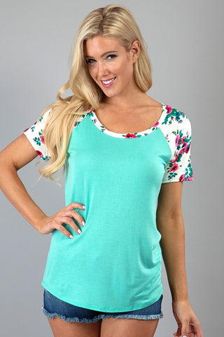 Floral Sleeve Top - Mint and Ivory