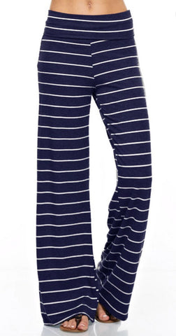 Casual Striped Pants - Navy - Blue Chic Boutique  - 1