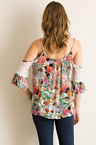 Floral Open Shoulder Top - Pink - Blue Chic Boutique  - 2