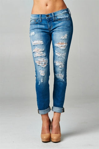 Distressed Boyfriend Rolled Up Jeans - Blue Chic Boutique  - 1
