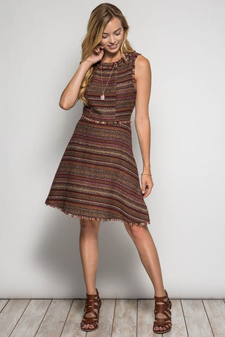 Fall Tweed Dress - Taupe - Blue Chic Boutique  - 5