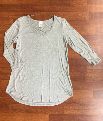 Criss Cross 3/4 Sleeve Top - Light Gray - Blue Chic Boutique  - 1