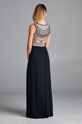 Abstract Maxi Dress - Black - Blue Chic Boutique  - 3