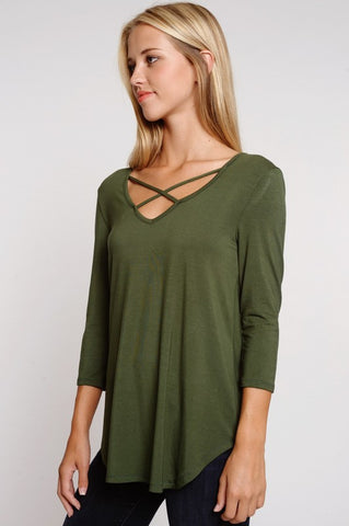 Criss Cross 3/4 Sleeve Top - Olive - Blue Chic Boutique  - 6