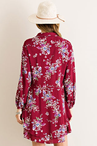 Fashionista in Floral Dress - Burgundy - Blue Chic Boutique  - 4