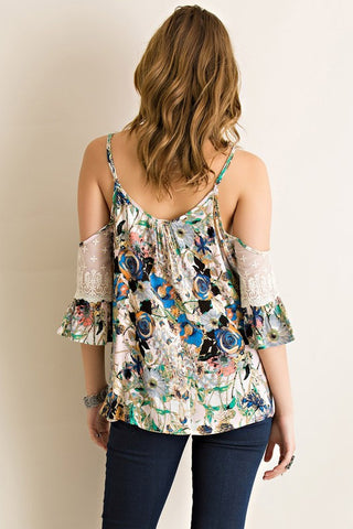 Floral Open Shoulder Top - Navy - Blue Chic Boutique  - 2