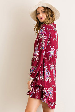 Fashionista in Floral Dress - Burgundy - Blue Chic Boutique  - 3