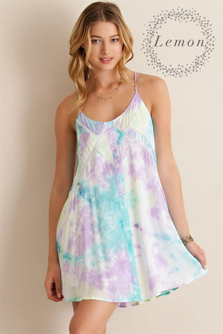 Pastel Watercolor Dress - Lemon Combo - Blue Chic Boutique  - 2