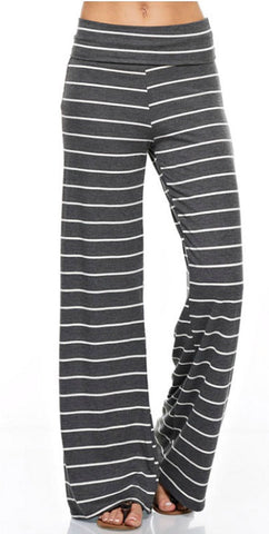 Casual Striped Pants - Charcoal - Blue Chic Boutique  - 1