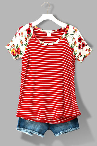 Stripes and Floral Top - Red - Blue Chic Boutique  - 1