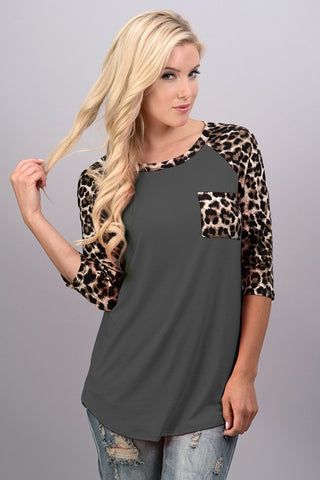 Leopard Sleeve Print 3/4 Sleeve Top - Charcoal - Blue Chic Boutique