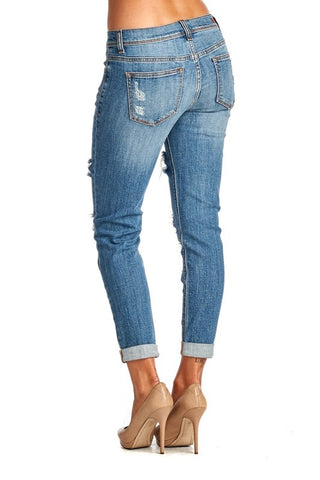 Medium Wash Distressed Jeans - Blue Chic Boutique  - 3