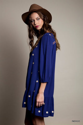 Summer Concert Boho Dress - Indigo - Blue Chic Boutique  - 2