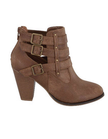 Buckle Ankle Boots - Tan - Blue Chic Boutique  - 1