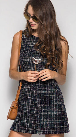 Tweed Shift Dress - Navy - Blue Chic Boutique  - 1