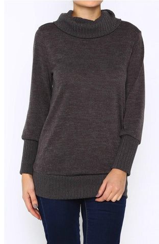 Heather Brown Turtleneck Sweater - Blue Chic Boutique  - 1