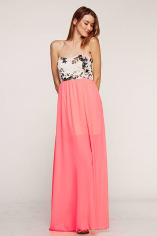 Day Garden Maxi Dress - Coral - Blue Chic Boutique  - 1