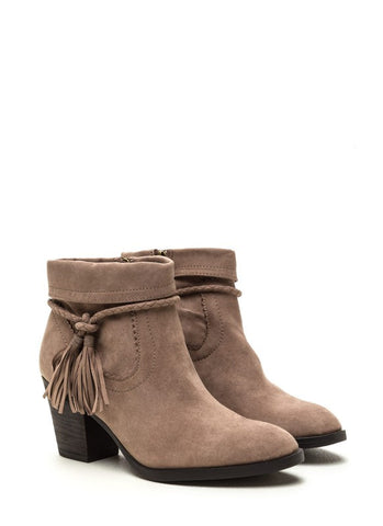 Tassle Booties - Taupe - Blue Chic Boutique