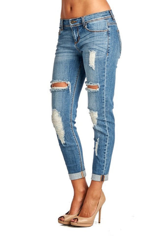 Medium Wash Distressed Jeans - Blue Chic Boutique  - 4