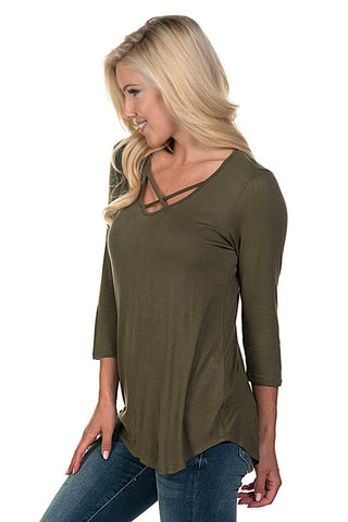 Criss Cross 3/4 Sleeve Top - Olive - Blue Chic Boutique  - 2