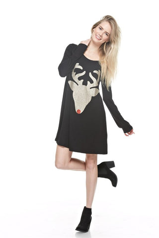 Glitter Reindeer Tunic - Black - Blue Chic Boutique  - 4