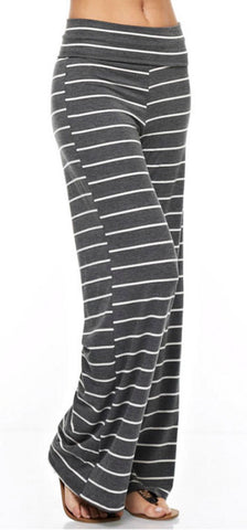 Casual Striped Pants - Charcoal - Blue Chic Boutique  - 3