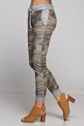 Camo Jogger with Solid Trim - Brown and Olive - Blue Chic Boutique  - 2