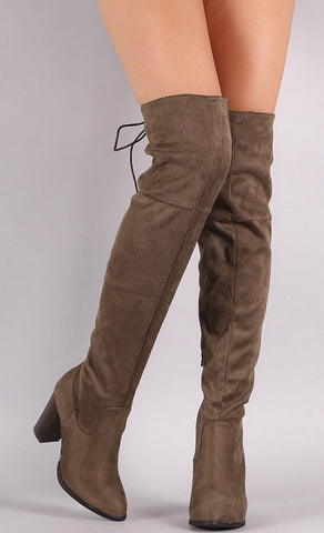 Over the Knee Lace Up Boots with Heel - Brown - Blue Chic Boutique  - 2