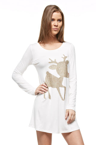 Glitter Rudolf the Reindeer Tunic Top - White - Kids sizes to 3XL - Blue Chic Boutique  - 1