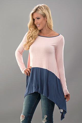 Color Block Tunic - Gray and Pink - Blue Chic Boutique  - 2