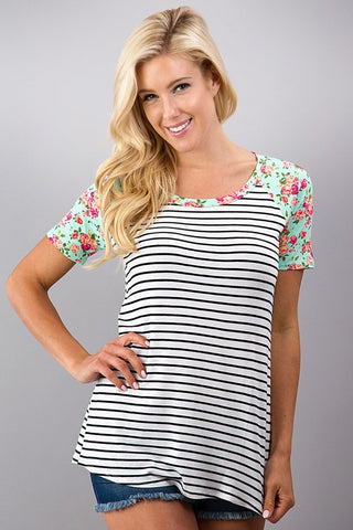 Stripes and Floral Top - Ivory and Mint - Blue Chic Boutique  - 2