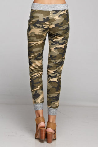 Camo Jogger with Solid Trim - Khaki and Olive - Blue Chic Boutique  - 3