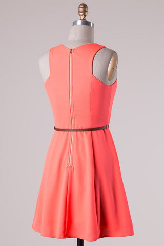 Coral Belted Dress - Blue Chic Boutique  - 2