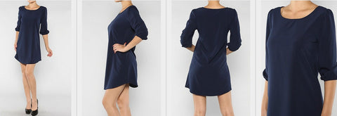 Navy Solid Tunic Dress - Blue Chic Boutique  - 2