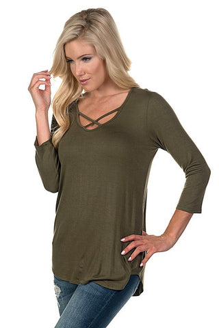 Criss Cross 3/4 Sleeve Top - Olive - Blue Chic Boutique  - 4